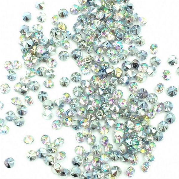 Resin sparkling crystal chatons - 2.5mm - silver /  clear AB